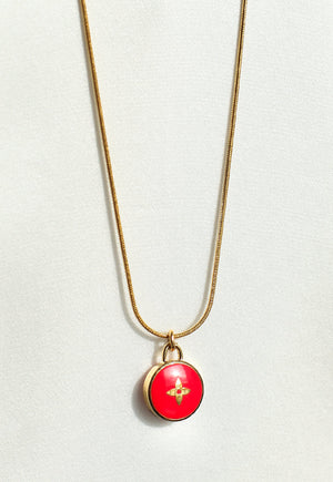 Reworked Louis Vuitton Red Flower Pendant Necklace