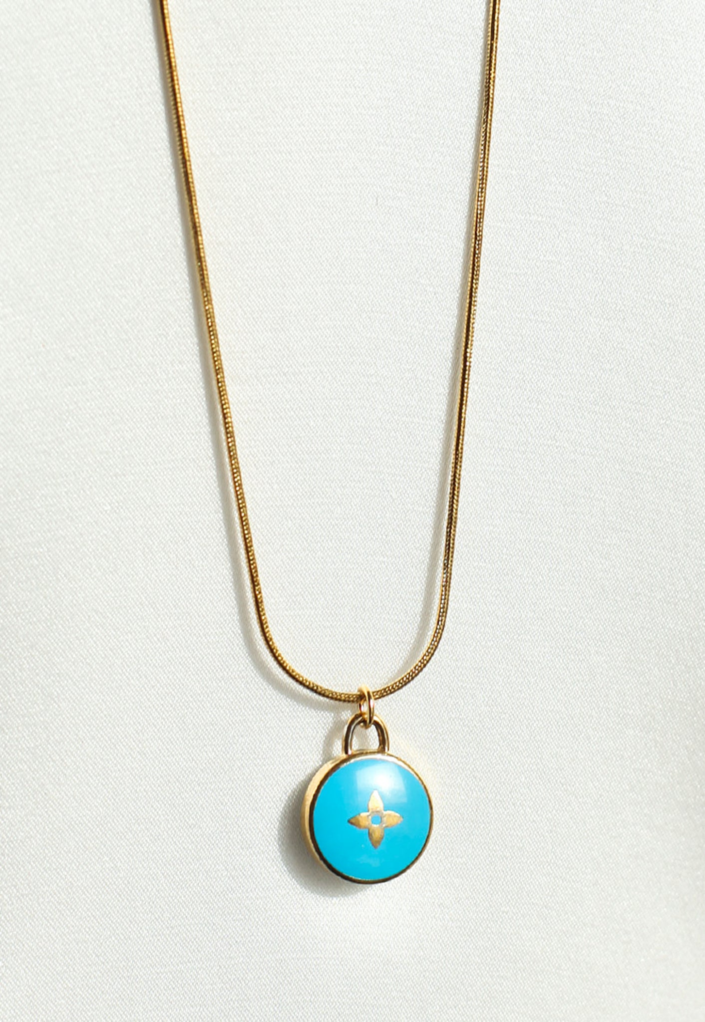 Reworked Louis Vuitton Blue Flower Pendant Necklace