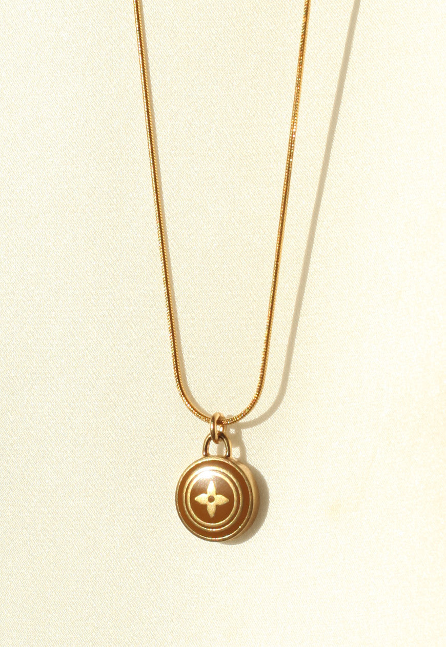 Reworked Louis Vuitton Light Brown Flower Pendant Necklace