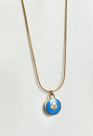 Reworked Louis Vuitton Royal Blue Round Flower Pendant Necklace