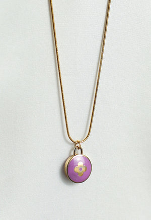 Reworked Louis Vuitton Purple Round Flower Pendant Necklace