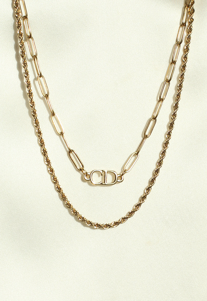 Reworked Christian Dior Layered CD Pendant Necklace