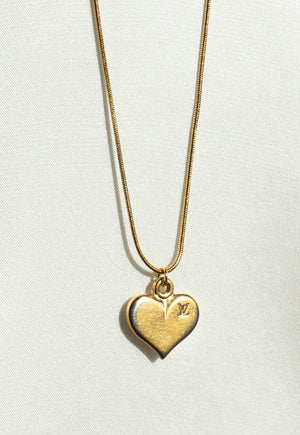 Reworked Louis Vuitton Gold Heart Pendant Necklace