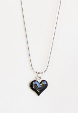 Reworked Louis Vuitton Silver Black Heart Pendant Necklace