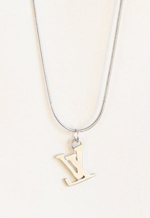 Reworked Louis Vuitton Silver LV Pendant Necklace