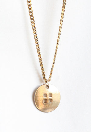 Reworked Louis Vuitton Gold Button Pendant Necklace