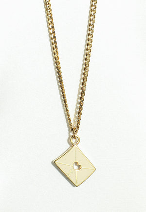 Reworked Louis Vuitton LV Envelope Pendant Necklace