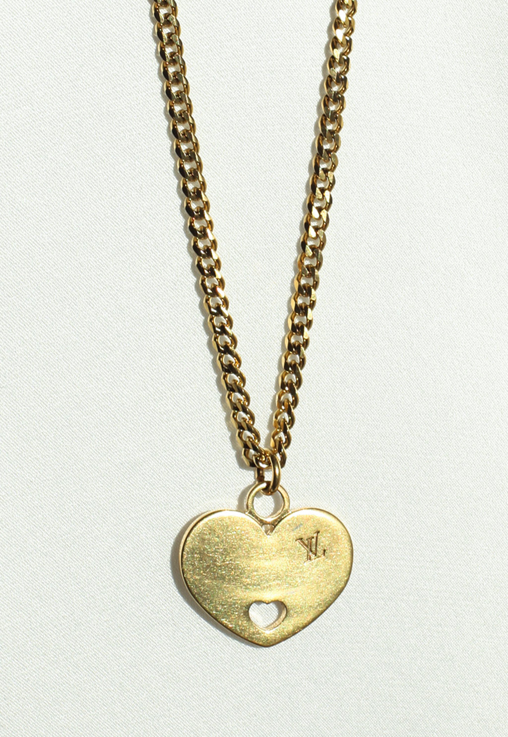 Reworked Louis Vuitton Gold Heart Heart Pendant Necklace