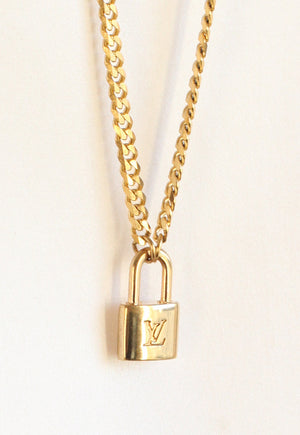 Reworked Louis Vuitton Mini Lock Pendant Necklace