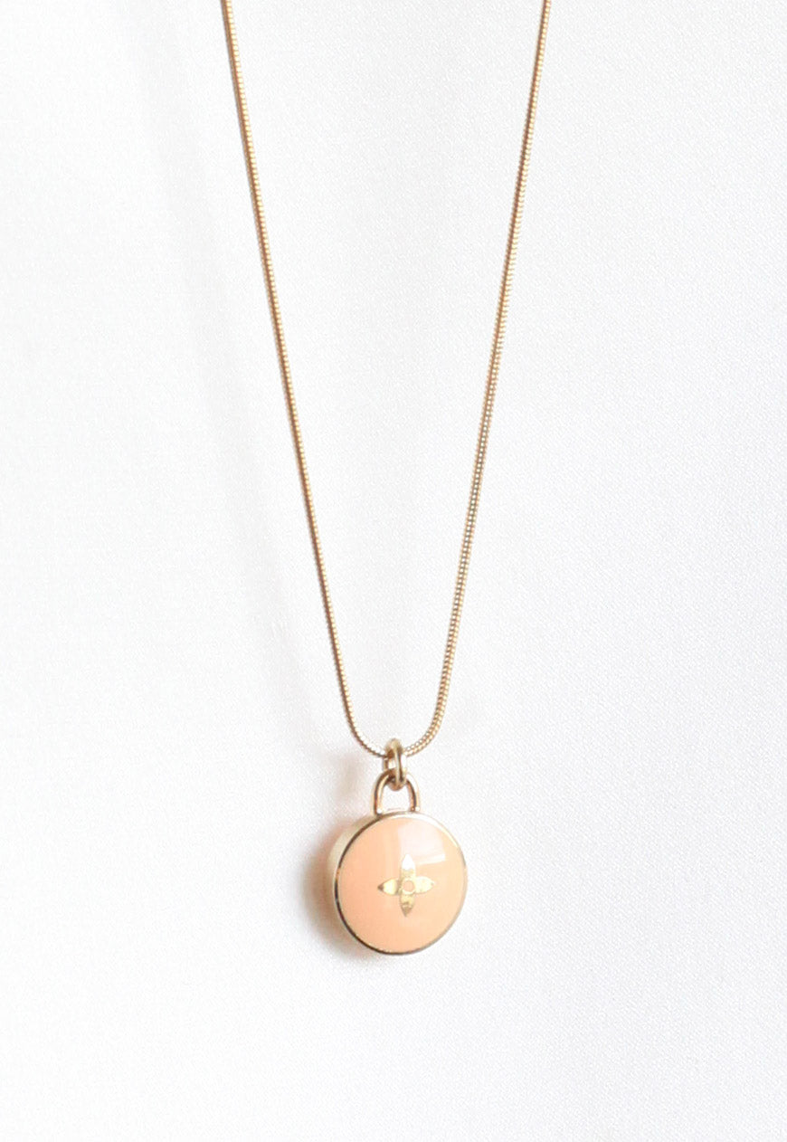 Reworked Louis Vuitton Peach Flower Pendant Necklace
