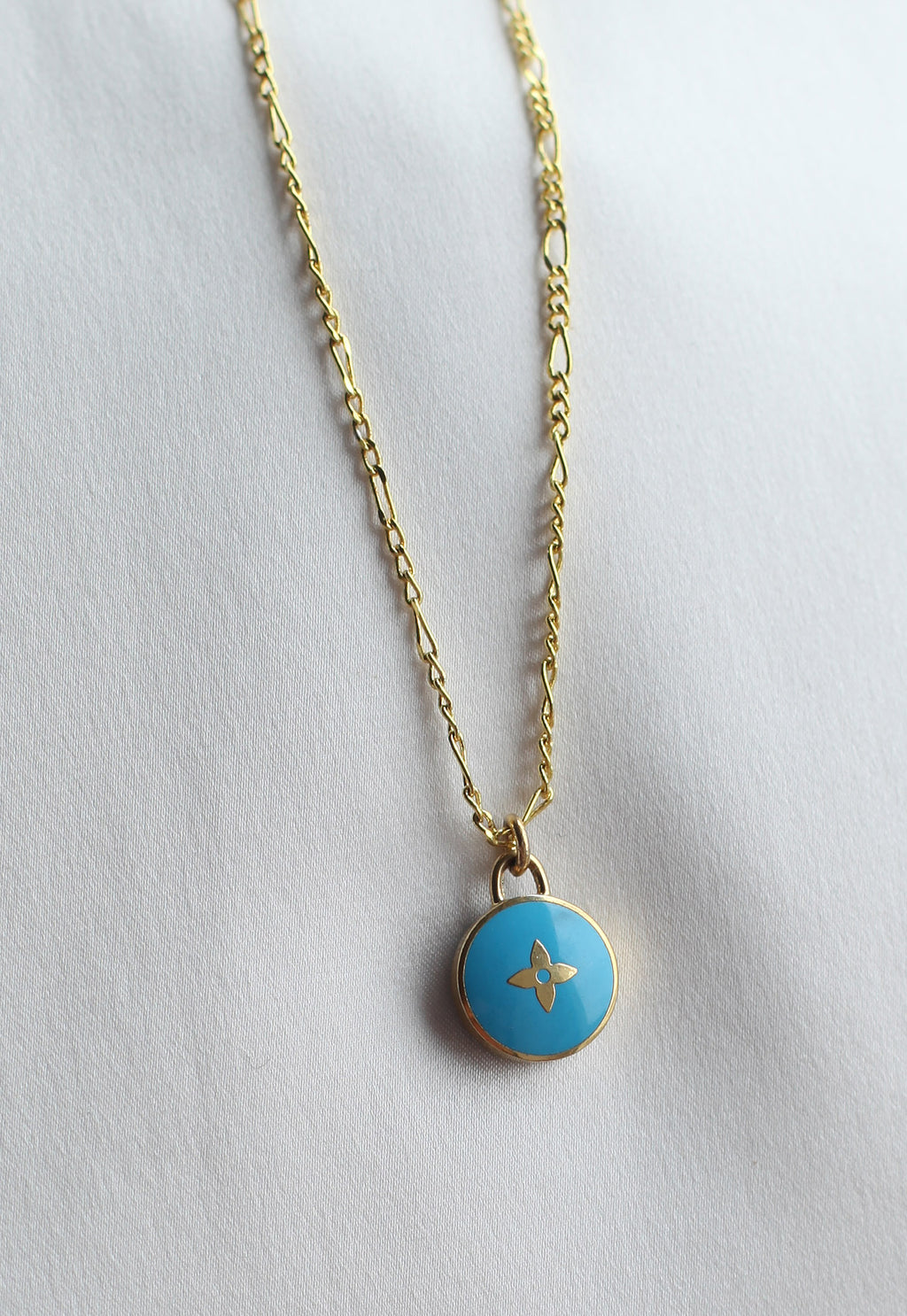Reworked Louis Vuitton Blue Pendant Necklace
