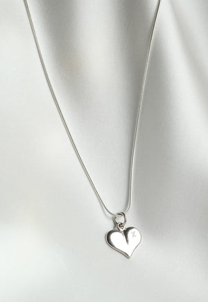 Reworked Louis Vuitton Silver Heart Pendant Necklace