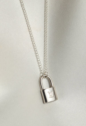 Reworked Louis Vuitton Silver Mini Lock Pendant Necklace