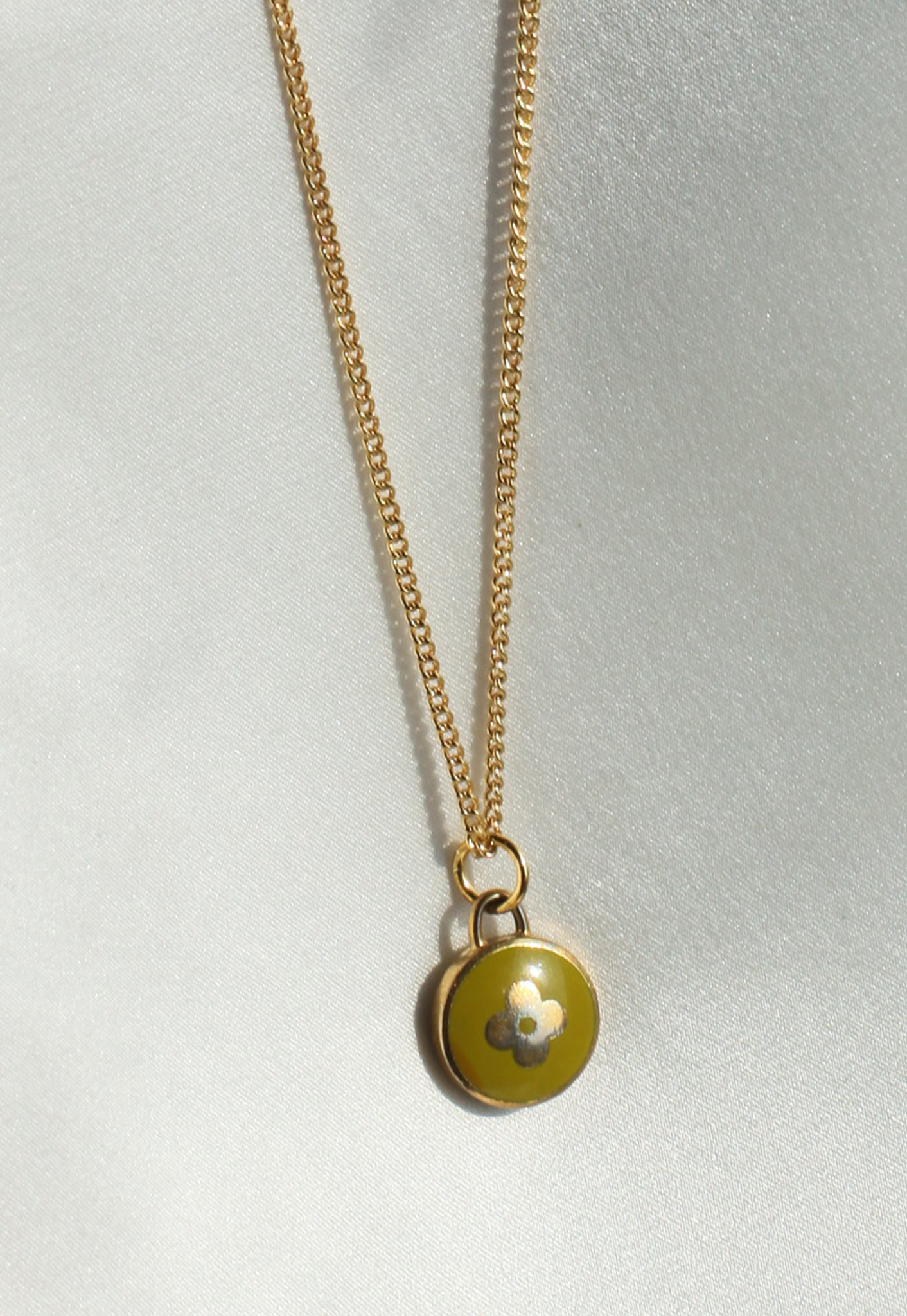 Reworked Louis Vuitton Lime Flower Pendant Necklace