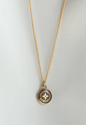 Reworked Louis Vuitton Brown Flower Pendant Necklace
