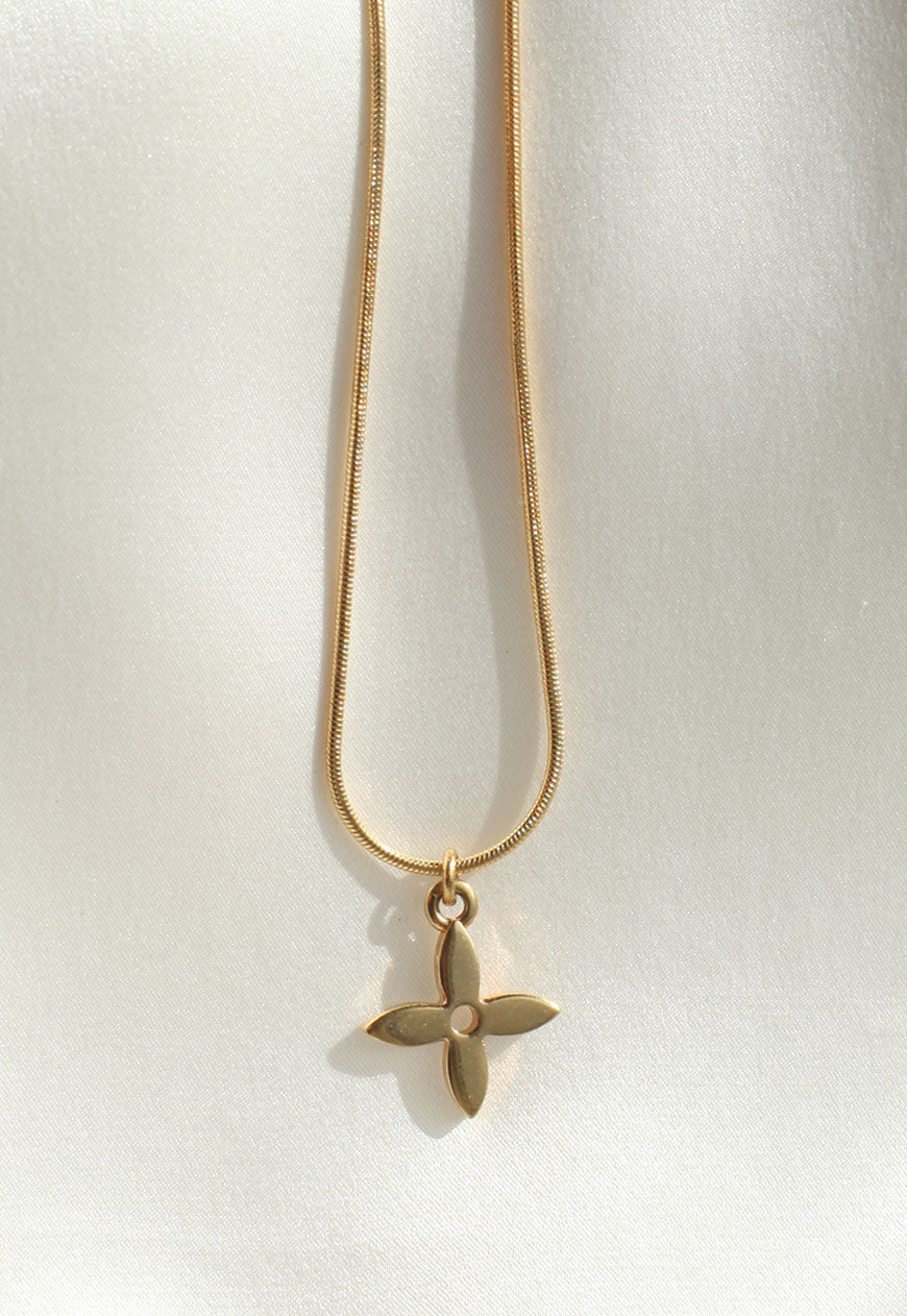 Reworked Louis Vuitton Gold Flower Pendant Necklace