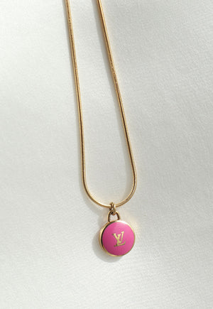 Reworked Louis Vuitton Hot Pink LV Pendant Necklace