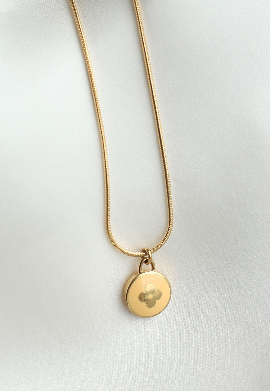 Reworked Louis Vuitton Pastel Yellow Round Flower Pendant Necklace