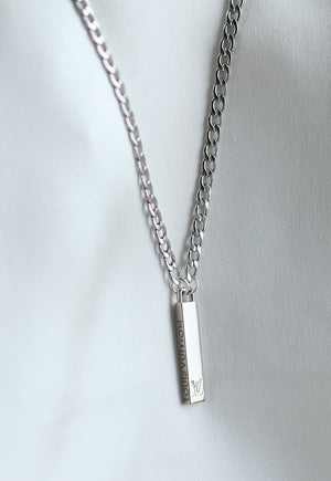 Reworked Louis Vuitton Silver Bar Pendant Necklace