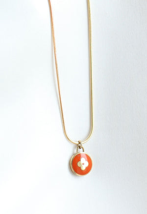 Reworked Louis Vuitton Burnt Orange Pendant Necklace