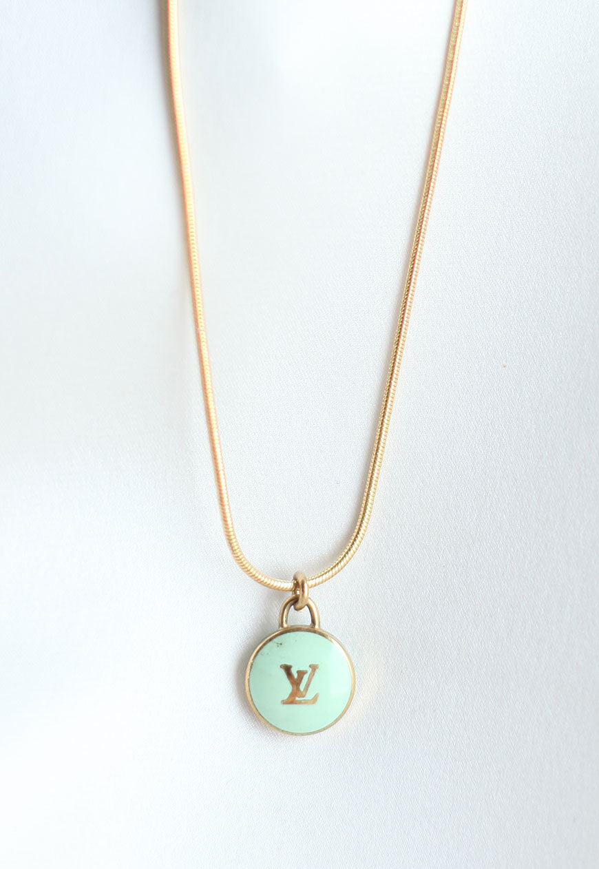 Reworked Louis Vuitton Mint LV Pendant Necklace