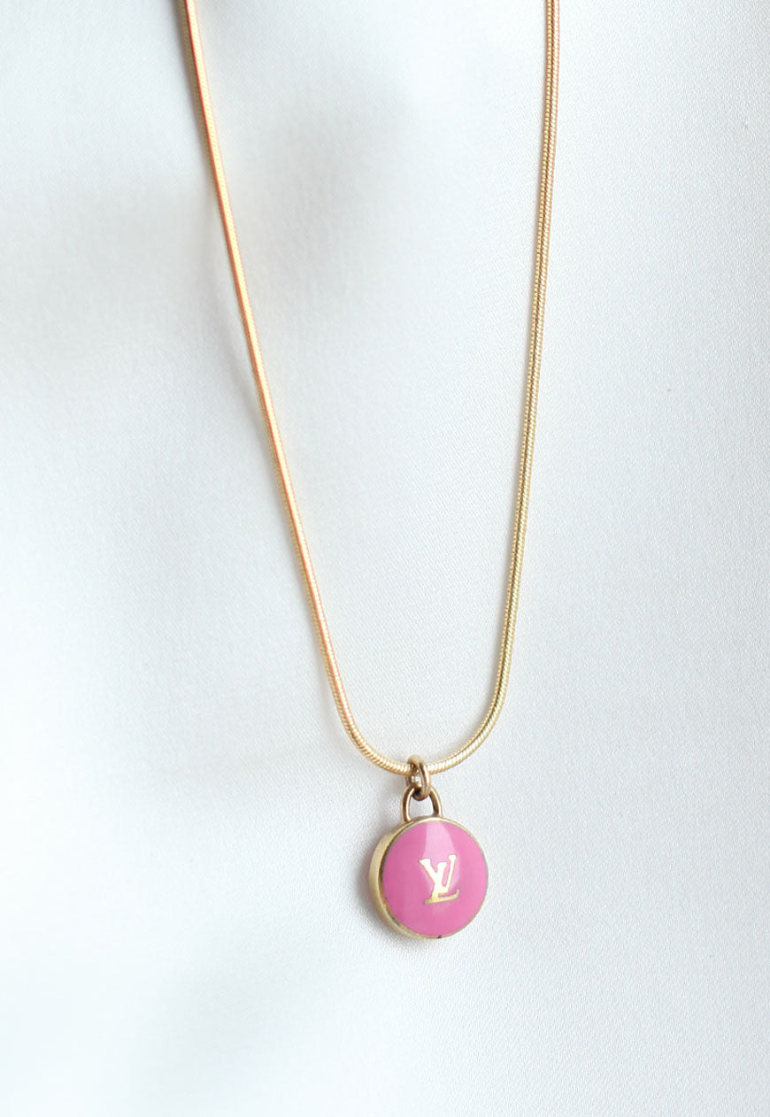 Reworked Louis Vuitton Pink LV Pendant Necklace