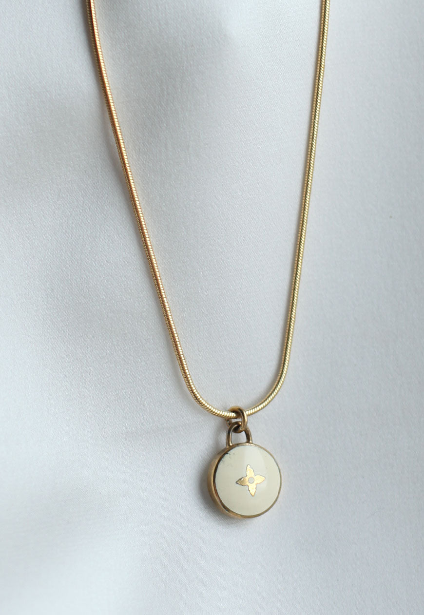 Reworked Louis Vuitton White Flower Pendant Necklace