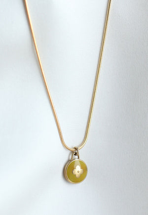 Reworked Louis Vuitton Lime Round Flower Pendant Necklace