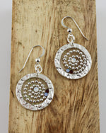Beaded Swirl Circle Drop Earrings