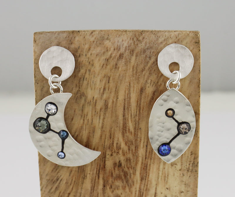 Moon Phase Drop Earrings on Posts
