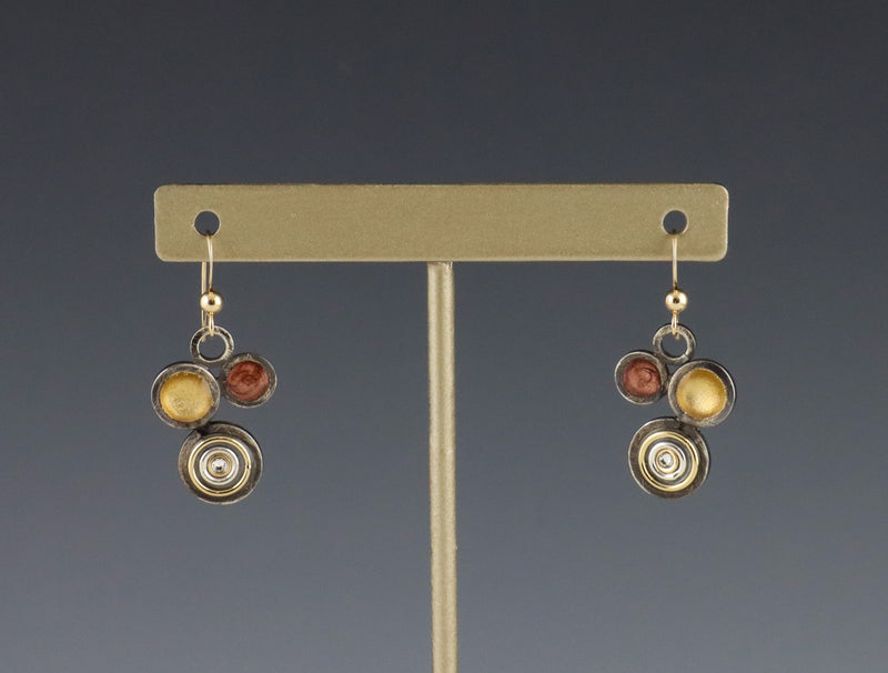 Bethlehem Steel Inspired Asymmetrical Circles Earrings