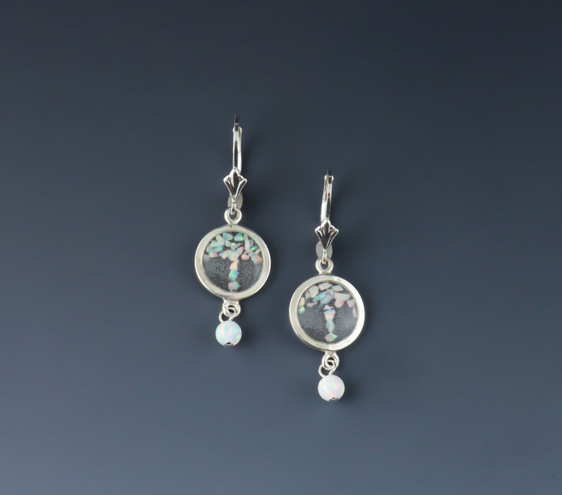 Crushed Opal Circle Drop Earrings