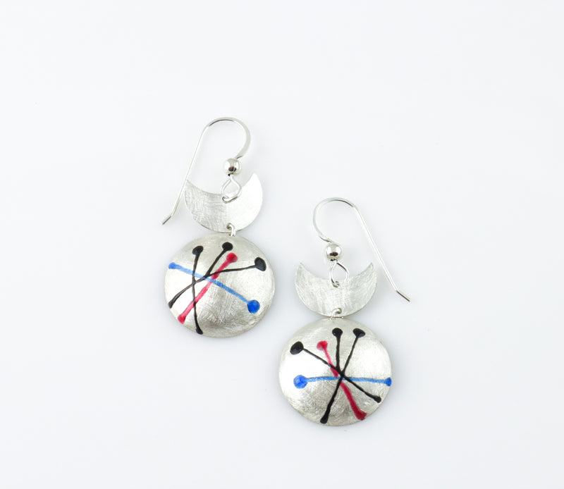 Domed Circle Drop Earrings with Crescent