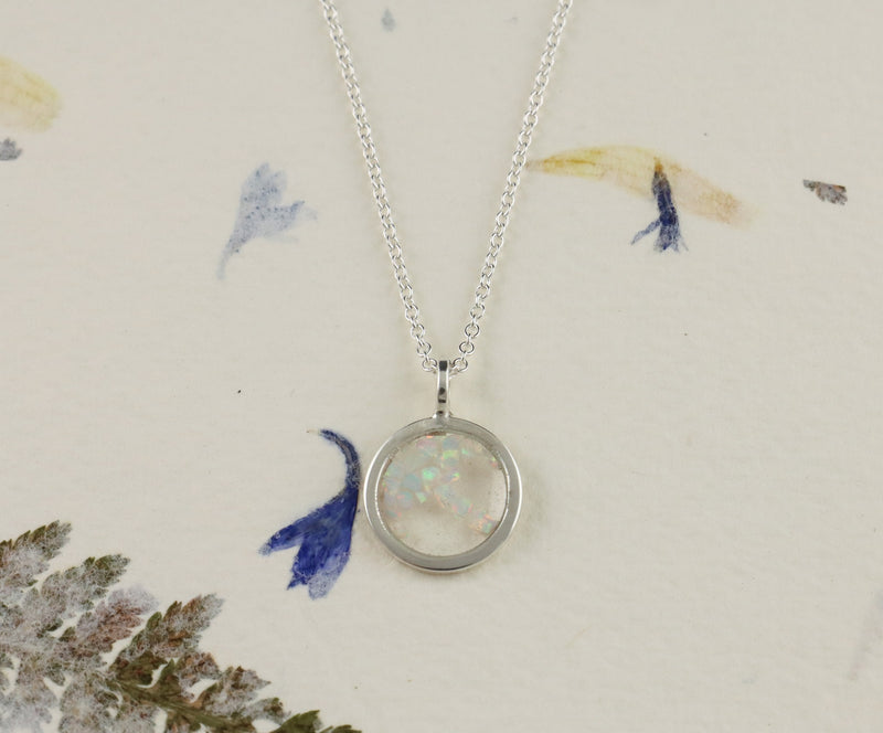 Mini Crushed Opal Circle Pendant