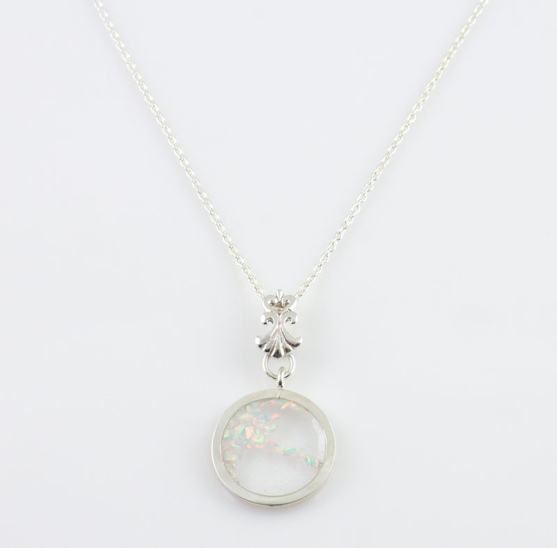 Crushed Opal Circle Pendant