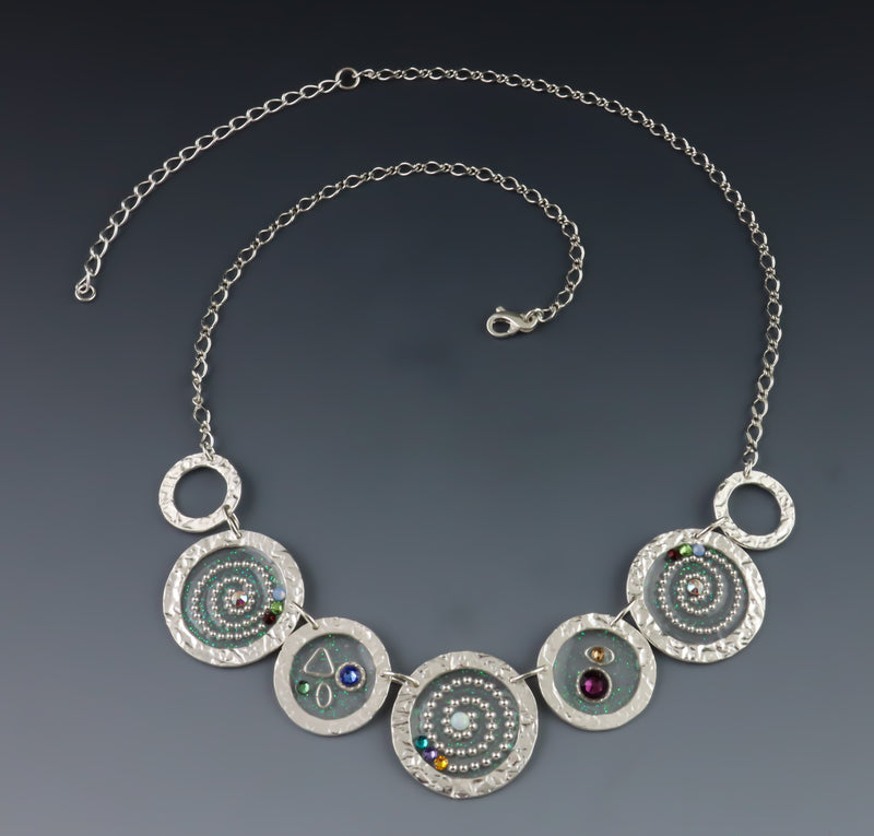Beaded Swirl Link Necklace