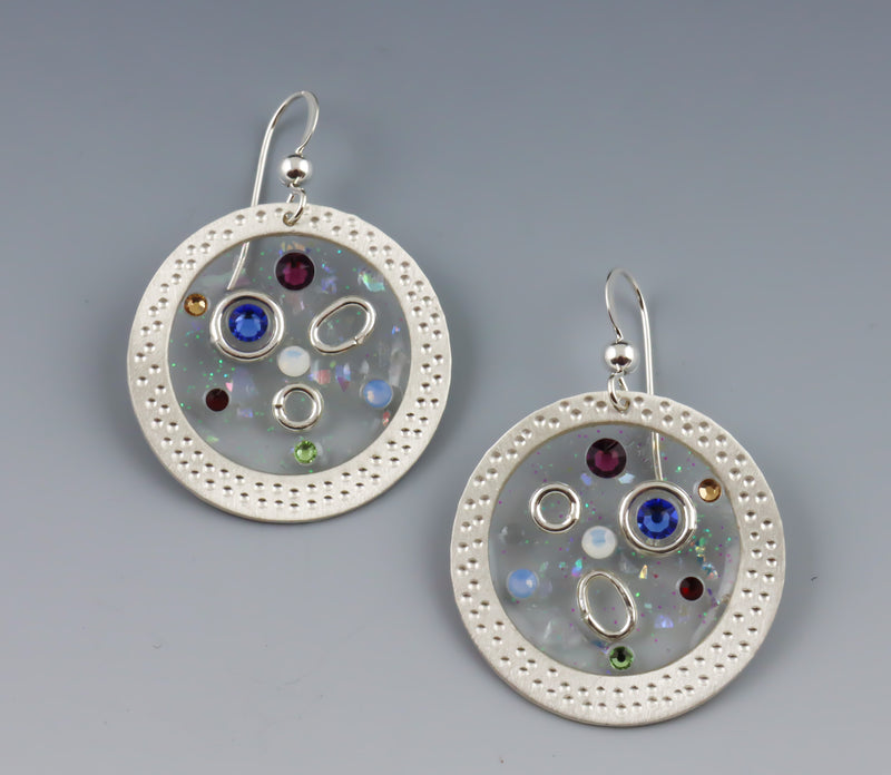 Suspended in Time Circle Drop Earrings