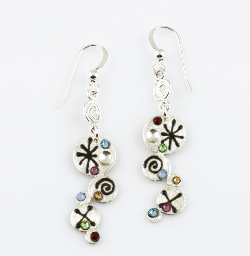Asymmetrical Modernist Drop Earrings