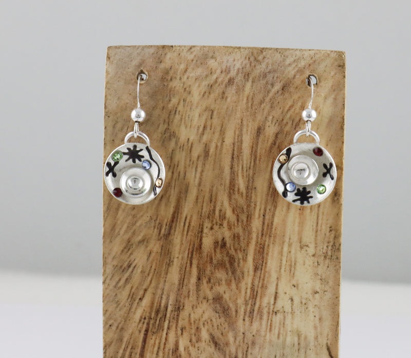 Petite Modernist Concave Circle Drop Earrings