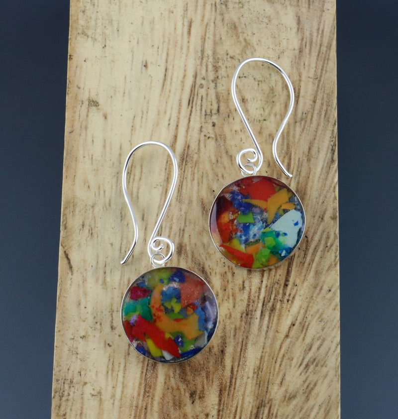 Mosaic Bezel Drop Earrings