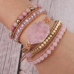 Pink Rose Multi-layer Gem Bracelet
