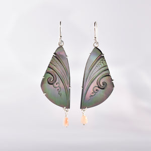 mother of pearl tahitian tattoo butterfly wing earrings