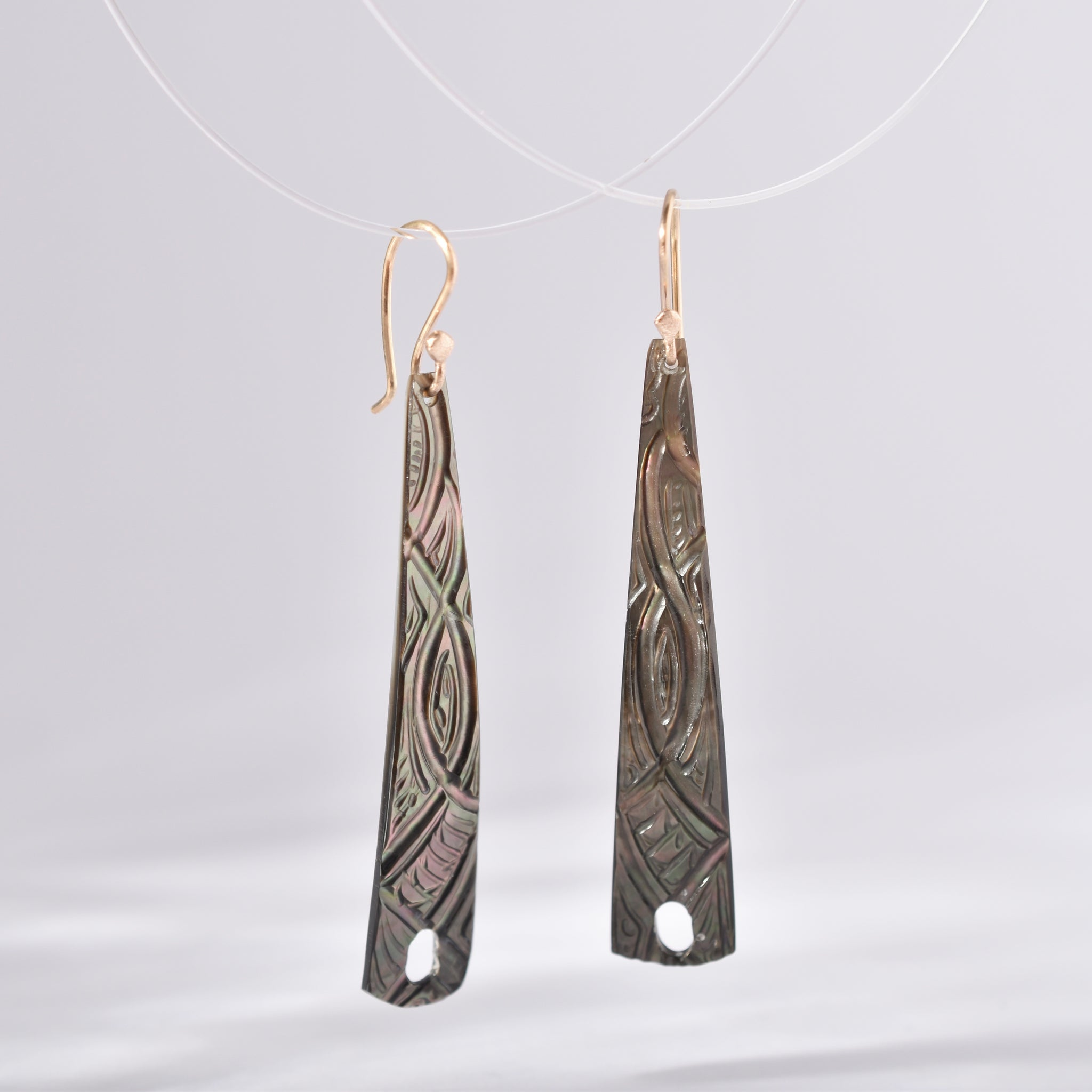 tahitian tattoo earrings with rose gold snake earhooks