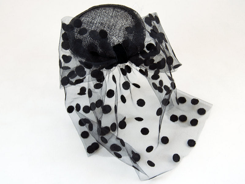 BIRDCAGE - VEIL FASCINATOR WITH GLAMOROUS POLKA DOTS FOR ELEGANT OCCASIONS