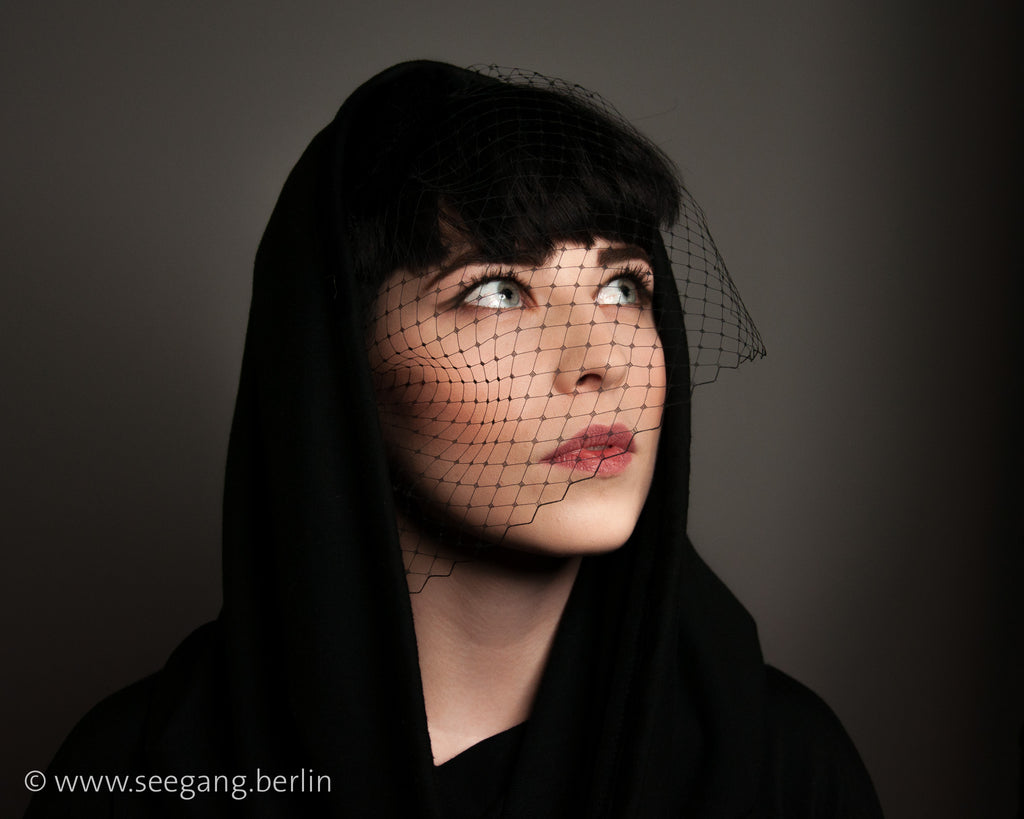 BIRDCAGE - VEIL FASCINATOR IN  BLACK VINTAGE STYLE