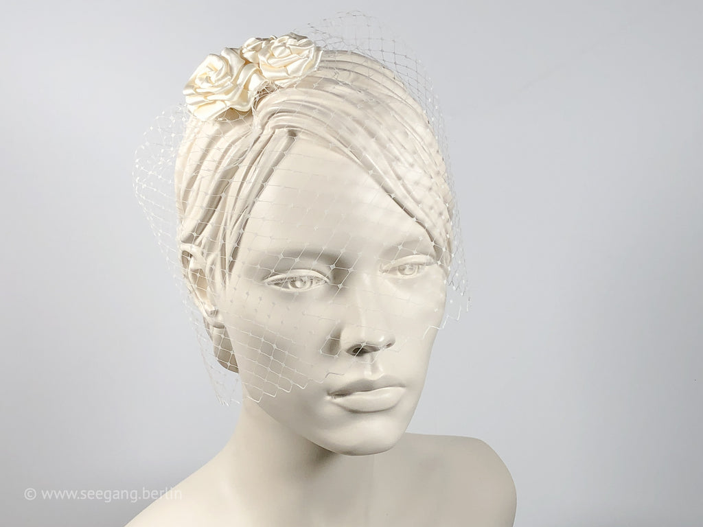 BIRDCAGE - BRIDAL VEIL HEADDRESS WITH ROSES IN SHADES OFF WHITE, CREME, IVORY AND CHAMPAGNE