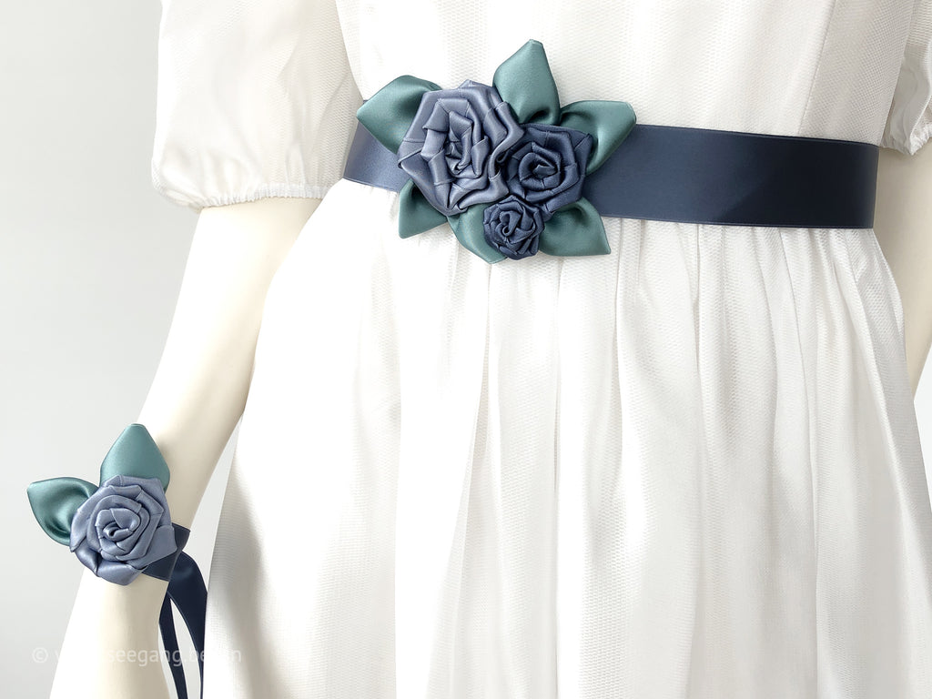 BELT OR WRISTBAND WITH ROSES IN DUSTY BLUE, PIGEON BLUE, AND SAGE GREEN LEAVES