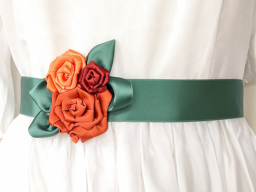 BRIDAL BELT / WRISTBAND WITH ROSES IN MANY SHADES OF ORANGE AND SAGE GREEN LEAVES