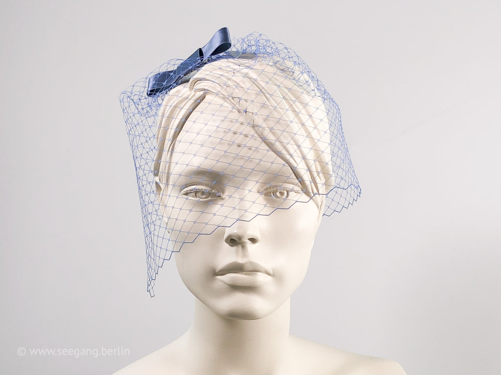 BIRDCAGE - VEIL HEADDRESS WITH A BOW IN BLUE SHADES DARK BLUE, PIGEON, PETROL AND PURPLE