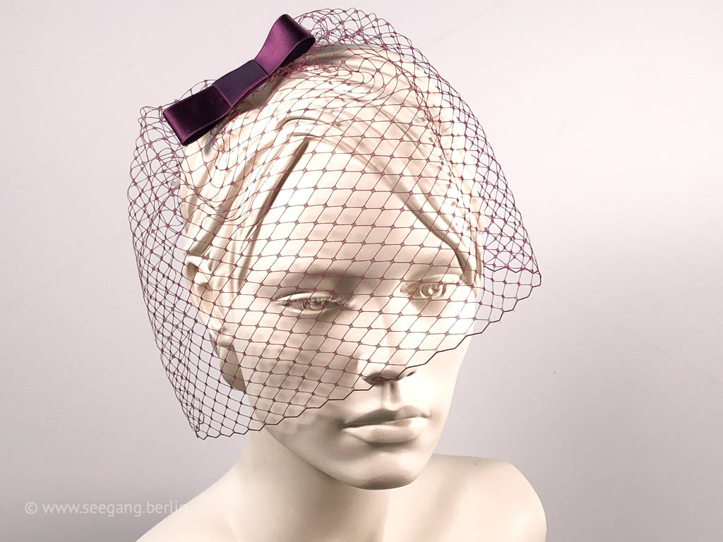 BIRDCAGE - VEIL HEADDRESS WITH A BOW IN MANY SHADES OF PURPLE, VIOLET, LILAC AND MAUVE